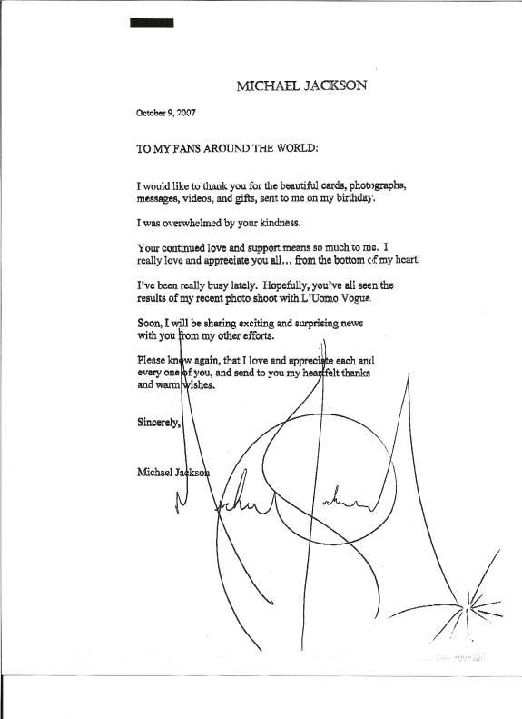 MJ Letter to Fans